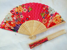 CHINESE JAPANESE COLOR FLOWER SWEET PINK HAND FAN DANCE NEW YEAR WOMEN PARTY B1