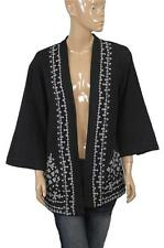78869 New Ecote Urban Outfitters Embroidered Cotton Black Shrug  Jacket Top M 8
