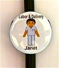 ID STETHOSCOPE NAME TAG,LABOR & DELIVERY BLUE C/B LVN, EMT, CCU, NURSE,