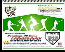 (x2) PREMIUM 20 GAME SCOREBOOKS BASEBALL / SOFTBALL SCORE BOOKS COACH TOOLS NEW!