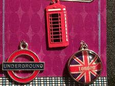 3 Pc Metal Charms Jewelry Red French Paris Underground London Telephone booth