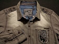 NWT Affliction Black Premium Womens Medium L/S Button-Front Solid Gray Shirt New