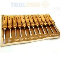 Toolzone Professional High Quality 12 pc Wood Carving Chisel Set Hand Tools