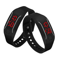Mens Womenss Silicone LED Watch Date Sports Bracelet Digital Wrist Watch BK