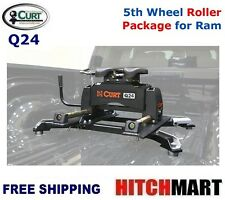 24K CURT 5TH WHEEL TRAILER HITCH w ROLLER & ADAPTER FOR RAM PUCK SYS 16546-16022