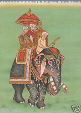 Mugal Moughal King Miniature Painting Elephant Ethn Folk Watercolor Art_AR929