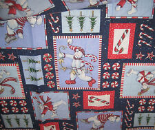 """Christmas Fabric Bears Candy Cotton 30"""" x 44"""" Material Glittery New Blues"""