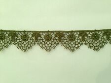 MOROCCAN LACE TRIM MOSS GREEN RIBBON TAPE DRESSMAKING CRAFT SCALLOPED FLORAL
