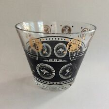 "Coin Ice Bucket Vintage MCM Glass Black And Gold 6"" X 5"""
