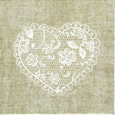 4x Single Lunch Party Paper Napkins for Decoupage Craft, Heart Lace Nature