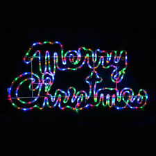 Multi Coloured LED Rope Light Merry Christmas Sign Decoration Indoor/Outdoor New