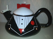 Vintage M. Kamenstein Inc Enamel Bow Tie Tuxedo Whistling Tea Kettle
