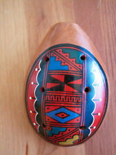 Ocarina Clay flute handcrafted handpainted Red Peru