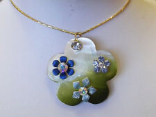 Olive green simulated shell with crystal flower  gold plated necklace