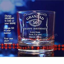 Personalised Jack Daniels engraved whiskey glass for Birthday, Christmas gift 52