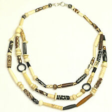 Women's Beaded Bone Necklace - Navajo Bone Bead Multilayered Fashion Jewellery