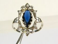 .50ct Lab Blue Sapphire & Seed Pearl Victorian Deco Sterling Filigree Ring 102a