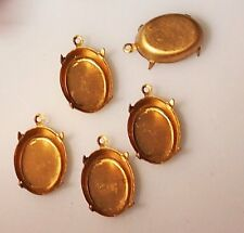 4 Vintage Brass Stone Settings Drops 4 prong w/ hang ring earrings pendants neck