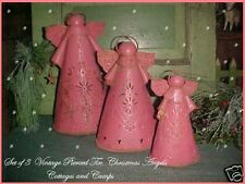 Primitive Folk Art Vtg Punched Pierced Tin Pink Angel Candleholders Xmas decor