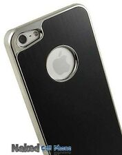 NEW BLACK SILVER CHROME BRUSHED ALUMINUM HARD CASE COVER FOR APPLE iPHONE 5 5s