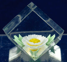 Acrylic Cube Paperweight Single Flower Russ Berrie Approximately 1 1/2 Inches