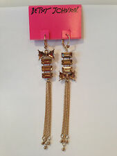 NWT Drop Betsey Johnson Iconic Brown Topaz and Gold Bow Mismatch Earrings
