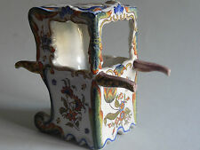 "ANTIQUE CARRIER CHAIR FRENCH FAIENCE DESVRES ROUEN FOURMAINTRAUX  height 5""1/4"