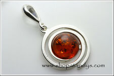 GENUINE COGNAC BALTIC AMBER 925 STERLING SILVER PENDANT
