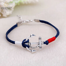 New Charm Silver Anchor Multilayer Rope Braided Bracelet Bangle Summer Jewelry