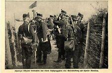 1915 Schweizer Grenzwacht * Offiziere beobachten aus einem Schützengraben *  WW1