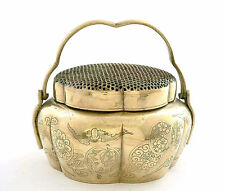 19th Century Chinese Incised Bronze Censer Hand Warmer