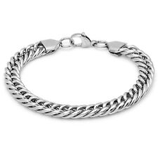 Stainless Steel Wide Link Mens Bracelet, Silver, 8.5 Inch