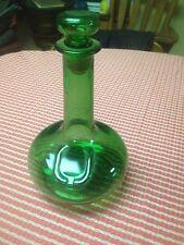 VINTAGE LJ MCGUINESS & CO LTD, GREEN LIQUOR GLASS BOTTLE W/ STOPPER