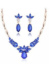 F33 Sapphire Blue Drop Necklace Earrings Yellow Gold Plated African Jewelry Set