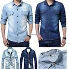 Fashion Stylish Mens Casual Long Sleeve Jeans Denim Shirt Wash Slim Fit Shirt