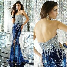 Custom Sexy Blue Sequin Beading Long Prom Evening Dresses Party Formal Gowns