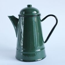 Vintage Green Enamel Enamelware Coffee Pot Dark Green made by Silesia Poland