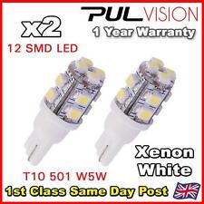 2 x 501 W5W T10 WHITE 12 LED SIDE LIGHT BULBS CAPLESS 12V INTERIOR NUMBER PLATE