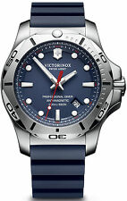 New Victorinox Swiss Army Inox Pro Diver Blue Rubber Strap Mens Watch 241734.1