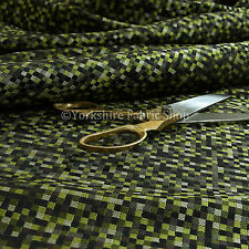Light New Small Checked Square Pattern Design Upholstery Fabric Green Black Grey