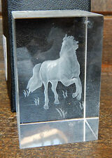 Crystal Block with Laser Etched Horse / Pony - BNIB Gift Boxed (C)