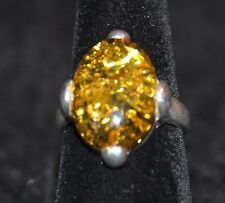 Baltic Green Amber and Sterling Silver 4 Prong Oval Ring Size 7