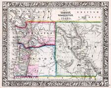 Mappa antica 1864 Mitchell OREGON Washington Idaho REPLICA poster stampa pam1838