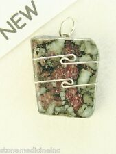 "1.2""/30mm Eudialyte sterling silver wire wrapped Pendant  #818"