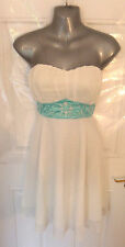 ❤ ALL DOLLED UP Gorgeous Ladies Size 12 White Baby Blue Beaded Middle Dress