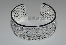 Wide Sterling Silver Plate 925 Heart Design  Rhinestone Bracelet.Cuff Bangle.UK