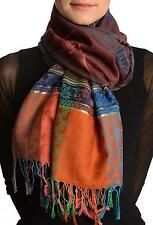 Paisley Stripes On Brown With Gold Lurex Pashmina With Tassels (SF001721)