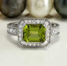 3.11CTW Estate Natural Green Peridot and Diamond in 14K White Gold Women Ring