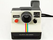 Vintage Polaroid SX-70 One Step White Rainbow Stripe Instant Land Camera TESTED