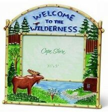 Moose Picture Frame Welcome To the Wilderness New Ceramic Woods Cabin Wildlife